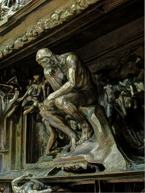考える人in地獄の門(3)  2012年1月7日 HDR露出合成