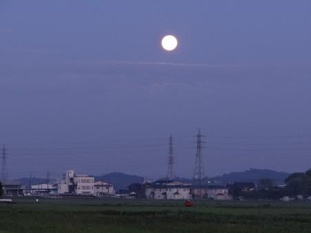 夜明け前の満月