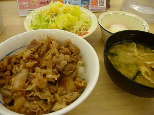 Photos: 松屋牛めし(小)200円+野菜セット140円